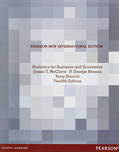 Statistics for Business and Economics: Pearson New International Edition