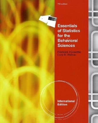 Essentials of Statistics for the Behavioral Science, International Edition